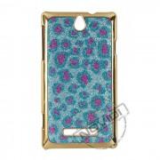 Capa Luxo Fashion Oncinha para Sony Xperia E - Cor Azul e Rosa