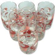 Jogo Com 6 Copos de Vidro Moriste 6901E Vermelho e Rosa 250Ml