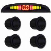 Sensor de Ré Estacionamento Universal 4 Pontos Display Led Na Tela 20mm NT00010 Preto Brilhante