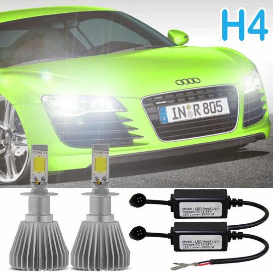 Par Lâmpada Super Led 6400 Lumens 12V 24V H4 6000K  - BEST SALE SHOP