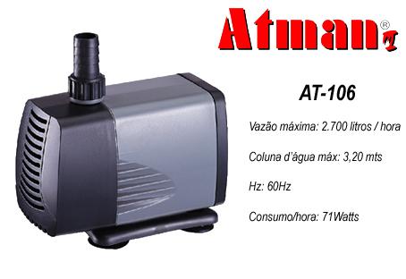Atman Bomba Sub. - AT-106 - 2700 L/H - Coluna  3,2 m   - 110V