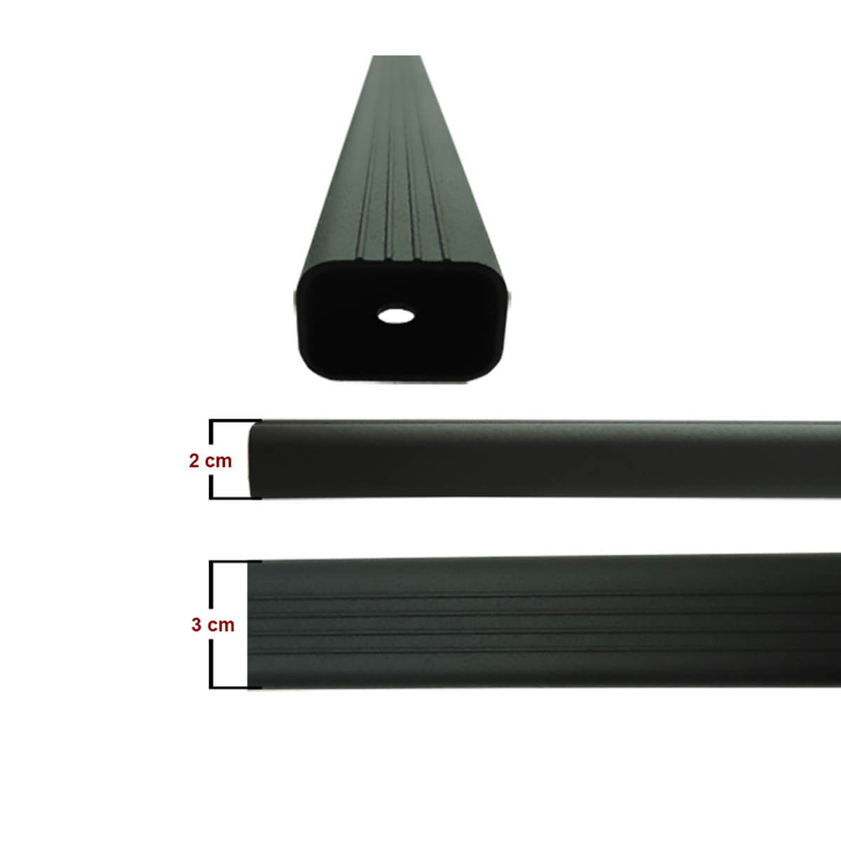 Travessa rack de teto alumínio preta Doblo 2002 a 2018 kit 4 peças