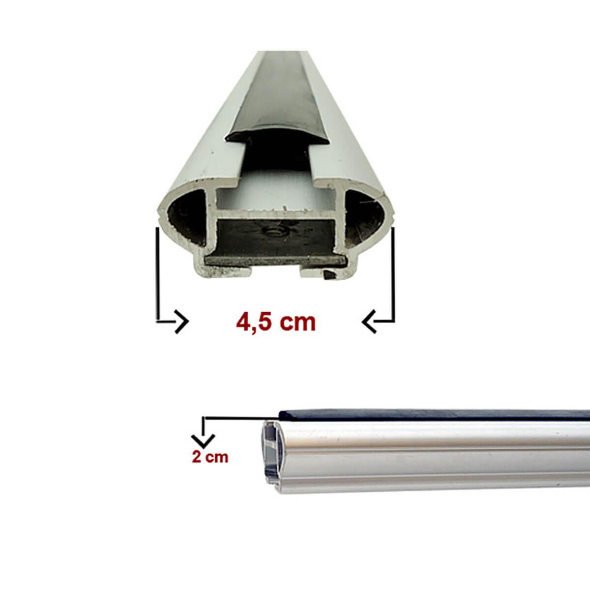 Travessa rack de teto larga alumínio Doblo 2002 a 2018