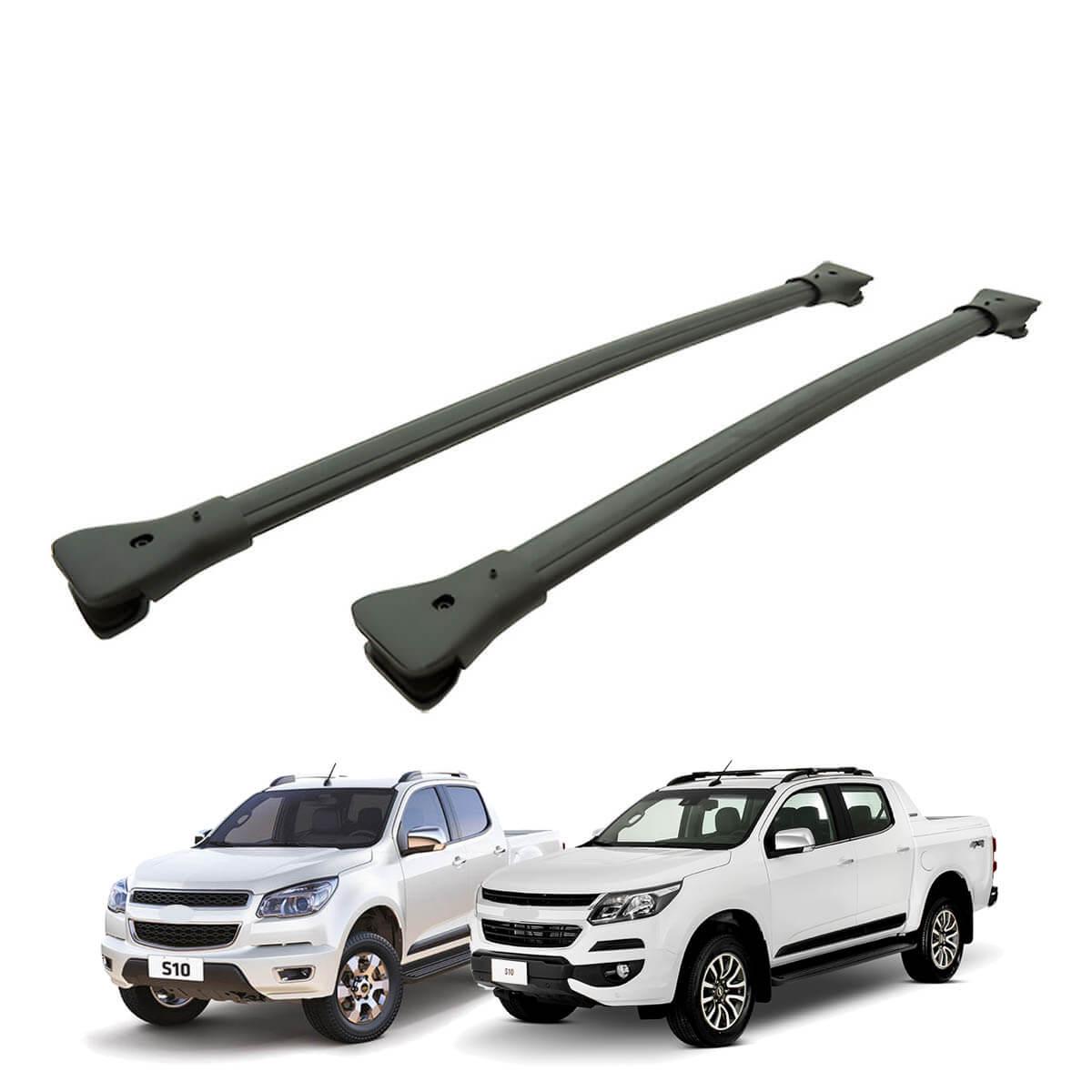 Travessa rack de teto larga preta alumínio Nova S10 cabine dupla 2012 a 2018