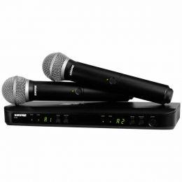 Microfone s/ Fio de Mão Duplo - BLX 288 BR / PG58 Shure
