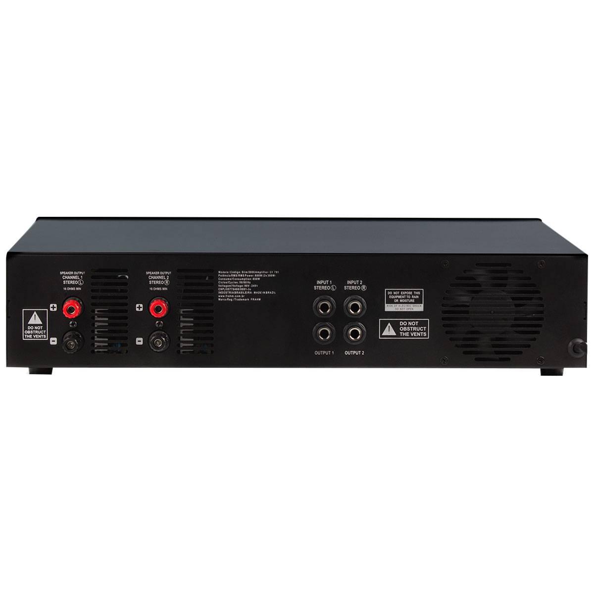 Amplificador Som Ambiente 600W até 80 Caixas - Slim 5000 LA Frahm