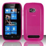 Capa TPU Premium + Película protetora para Nokia Lumia 710 - Cor Rosa
