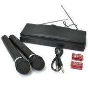 Microfones Sem Fio de Mão Duplo com Receptor