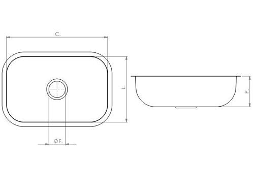 Cuba Retangular Lisa 460 x 300 x 180mm - Tecnocuba  - COLAR