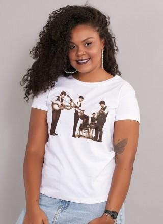 Camiseta Feminina The Beatles Picture Sepia