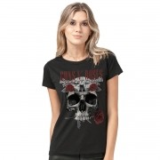 Camiseta Feminina Guns N´ Roses Skull