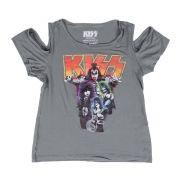 Camiseta Feminina Ombro Kiss Band