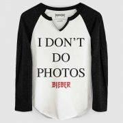 Camiseta Manga Longa Feminina Justin Bieber I Don´t Do Photos