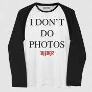 Camiseta Manga Longa Masculina Justin Bieber I Don´t Do Photos