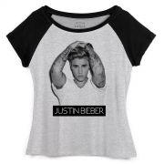 Camiseta Raglan Feminina Justin Bieber Purpose B&W