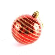 Bola de Natal Decorada 7cm Vermelha - 8 Unidades