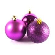 Bola de Natal Roxa Mista 6cm - 10 Unidades