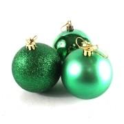 Bola de Natal Verde Mista 6cm - 10 Unidades