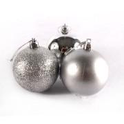 Bola de Natal Prata Mista 6cm - 10 Unidades