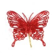 Enfeite Borboleta com Glitter Vermelho - 6 Unidades