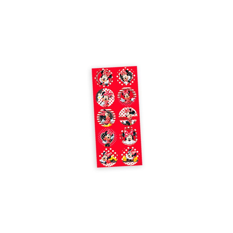 Adesivo 3 Cartelas Redondo Minnie