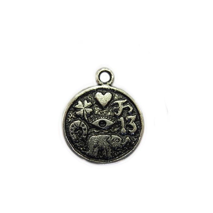 Pingente Medalha sorte níquel envelhecido- PTN074