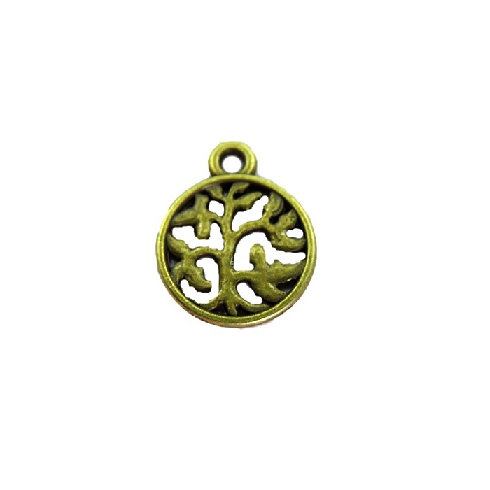 Pingente Medalha arvore da vida vazada ouro velho (10 unidades)- PTO039