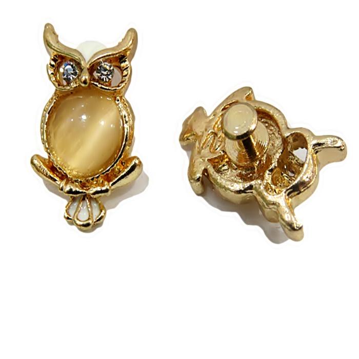 Piercing Coruja barriga olho de gato dourada (Par)- PID007
