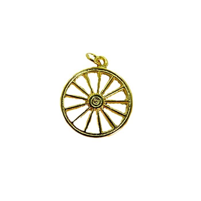 Pingente ferramenta roda orixá dourada- PFD011