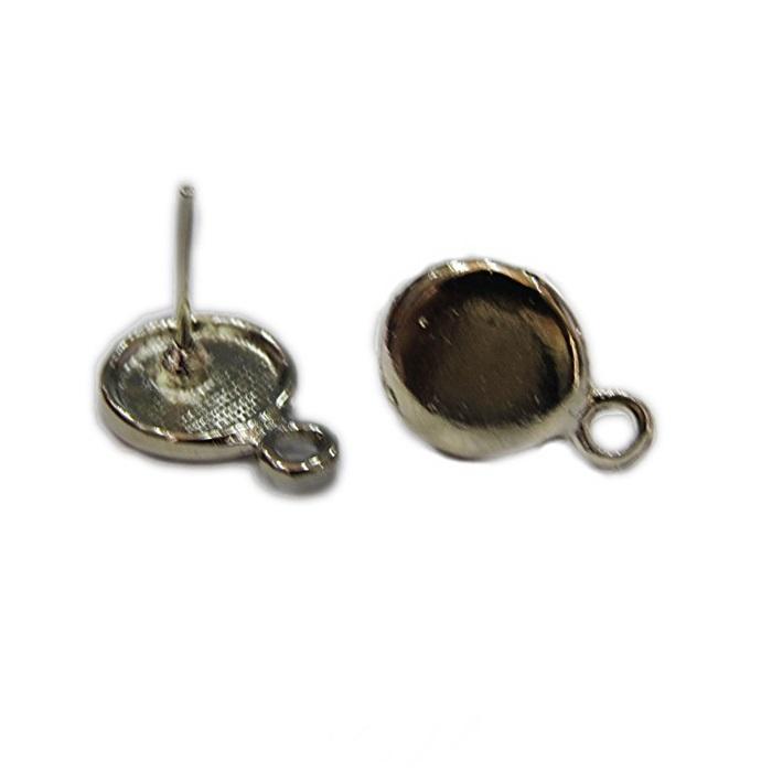 Base de brinco níquel redonda lisa (4 pares)- BAN012