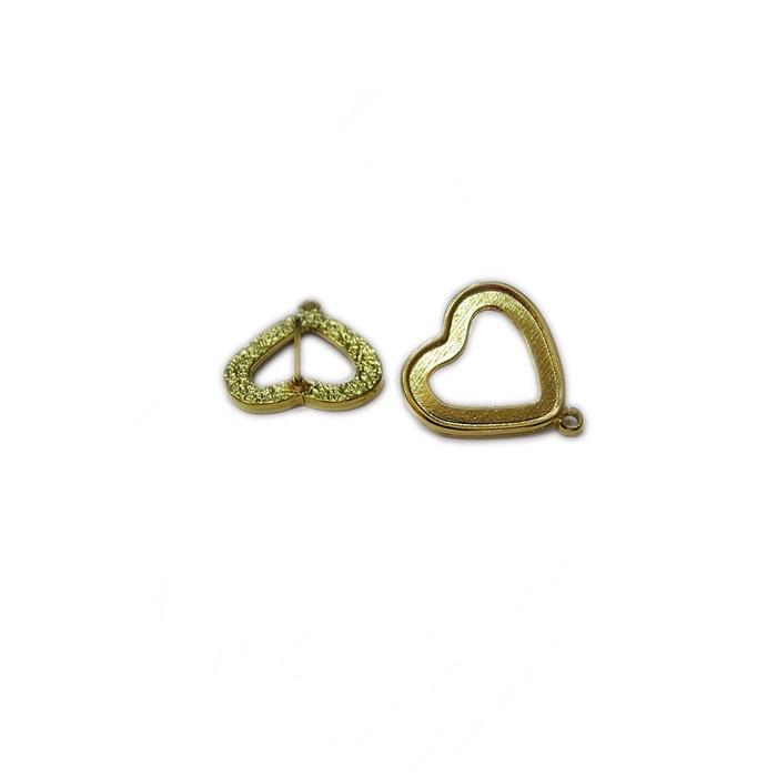 Base de brinco dourada coração P (4 pares)- BAD001