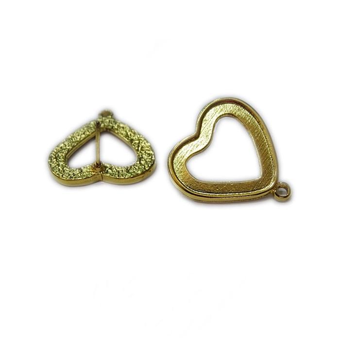 Base de brinco dourada coração G (2 pares)- BAD002