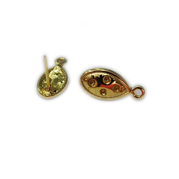 Base de brinco dourada navete (3 pares)- BAD006