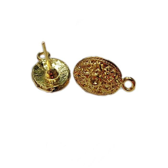 Base de brinco dourada oval trabalhada (2 pares)- BAD008
