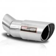 Ponteira de Escapamento Saída Chanfrada Race Chrome 3 Polegadas Encaixe Angular Alumínio Prata