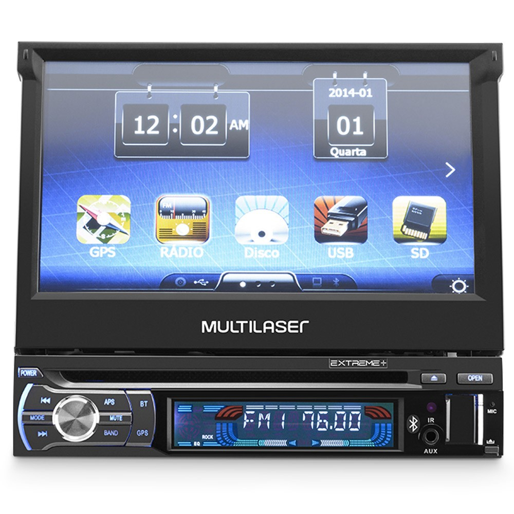 DVD Player Automotivo Tela Retrátil GPS TV Bluetooth MP3 Mirror Link Multilaser Extreme+ GP044
