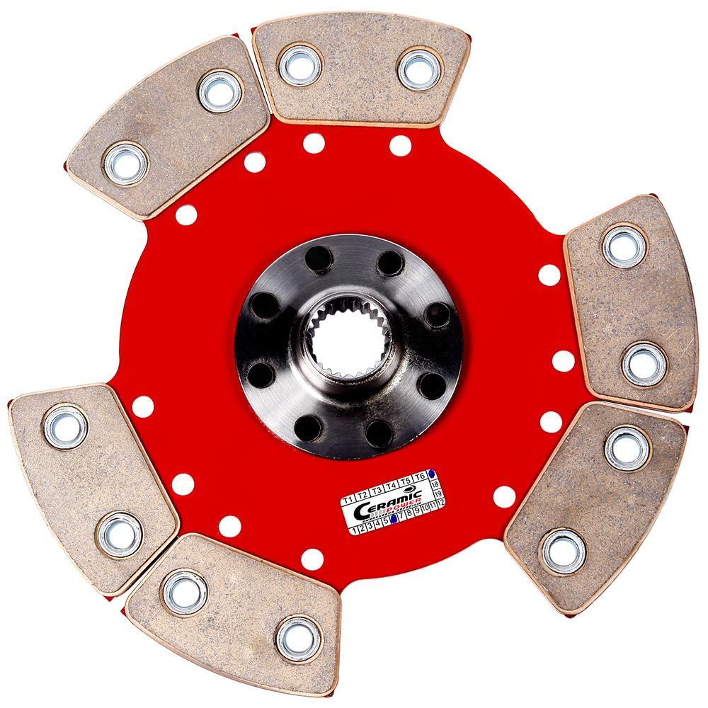 Disco de Cerâmica 6 pastilhas SEM mola motor AP eixo  GTI Gol Santana Parati Saveiro Passat Voyage 1.8 2.0 210mm 23 estrias Ceramic Power (7005-AT6 GTI)