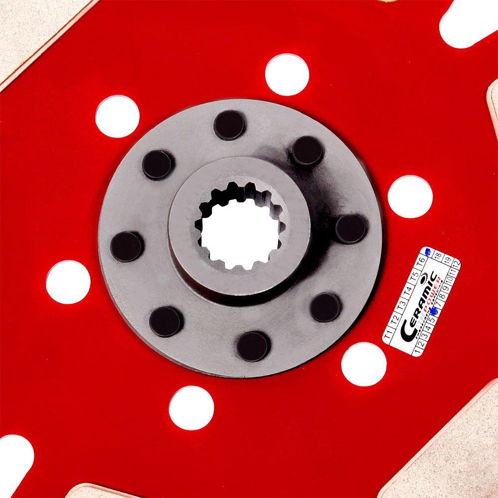 Disco de Cerâmica 6 pastilhas sem mola Opala 4 e 6 cilindros após 73 esrtia fina 230mm 14 estrias Ceramic Power (7049-T6)