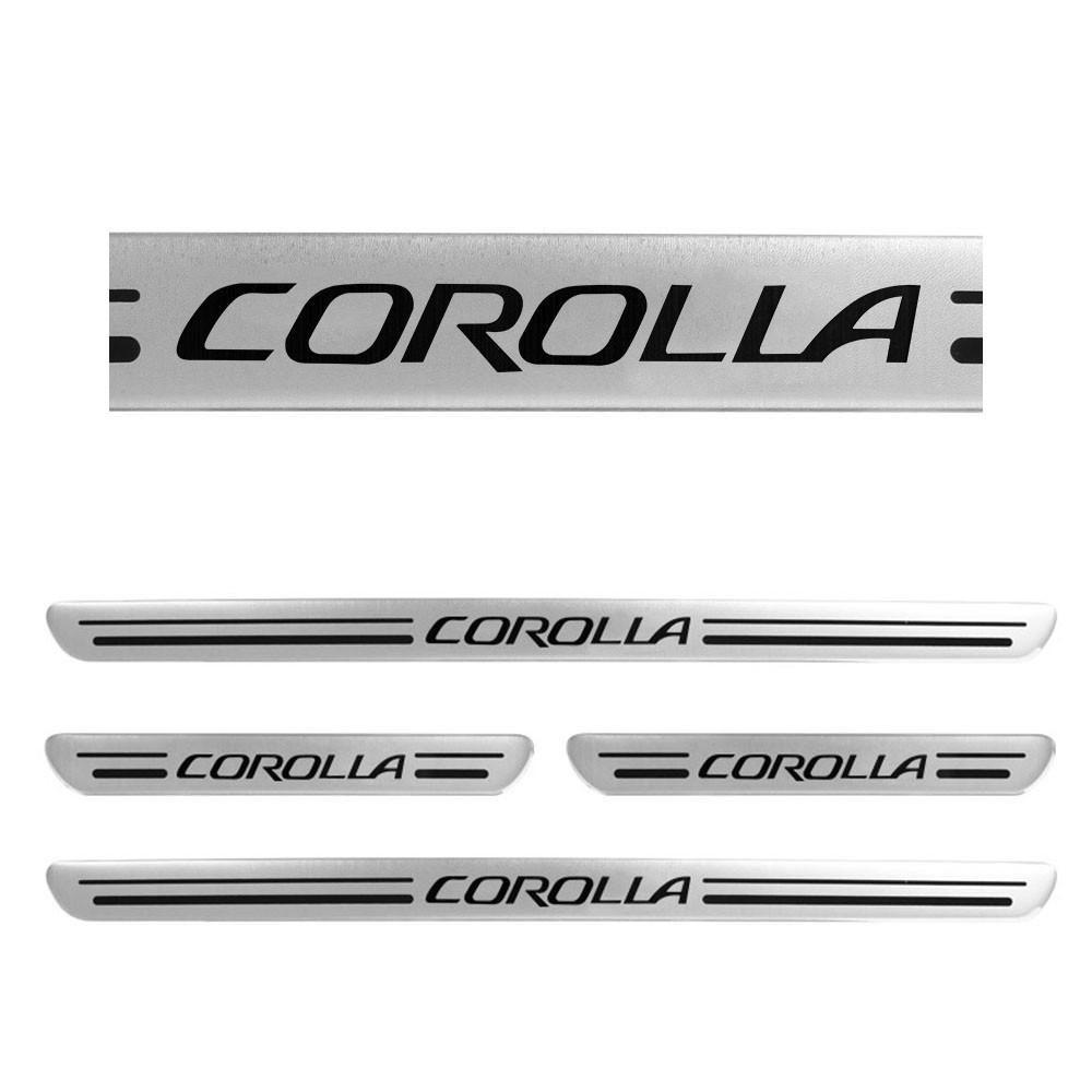 Jogo Soleiras Resinadas de Porta Personalizada Corolla 2014 a 2017 4 Peças Aço Escovado (SLR09)
