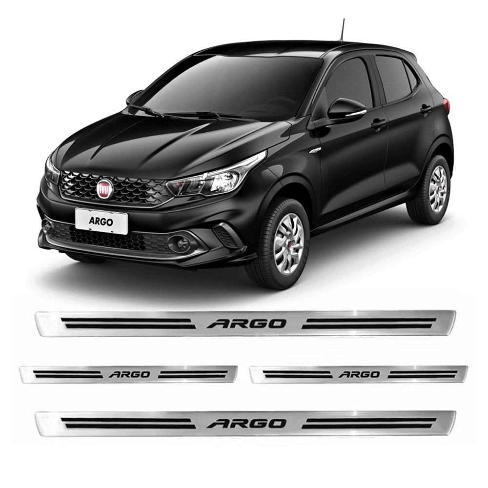 Jogo Soleiras Resinadas de Porta Personalizada Fiat Argo 4 Peças Aço Escovado (SLR10)