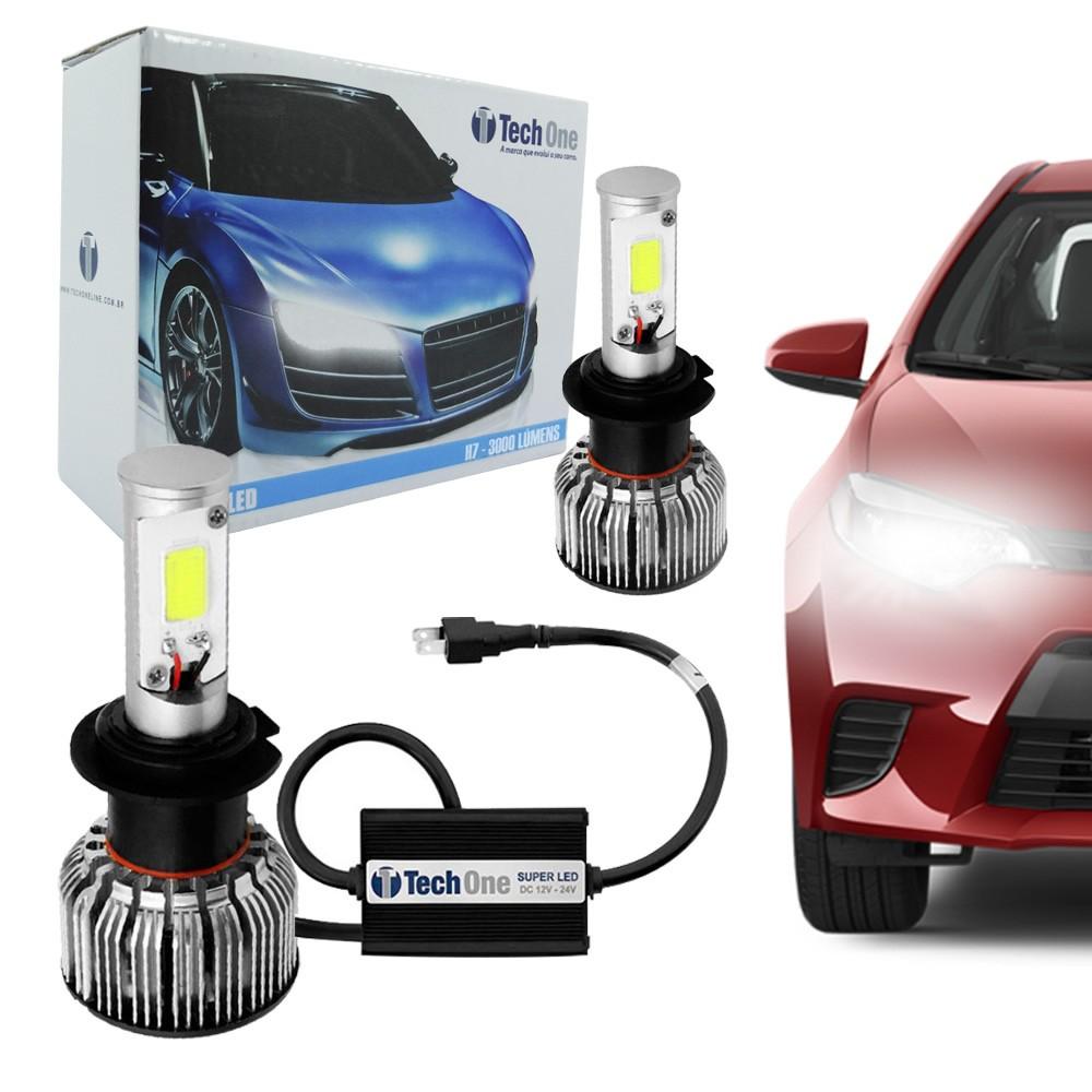 Kit Lâmpada Super LED H7 6000k 12V e 24V 18W 3000LM Efeito Xenon - Tech One
