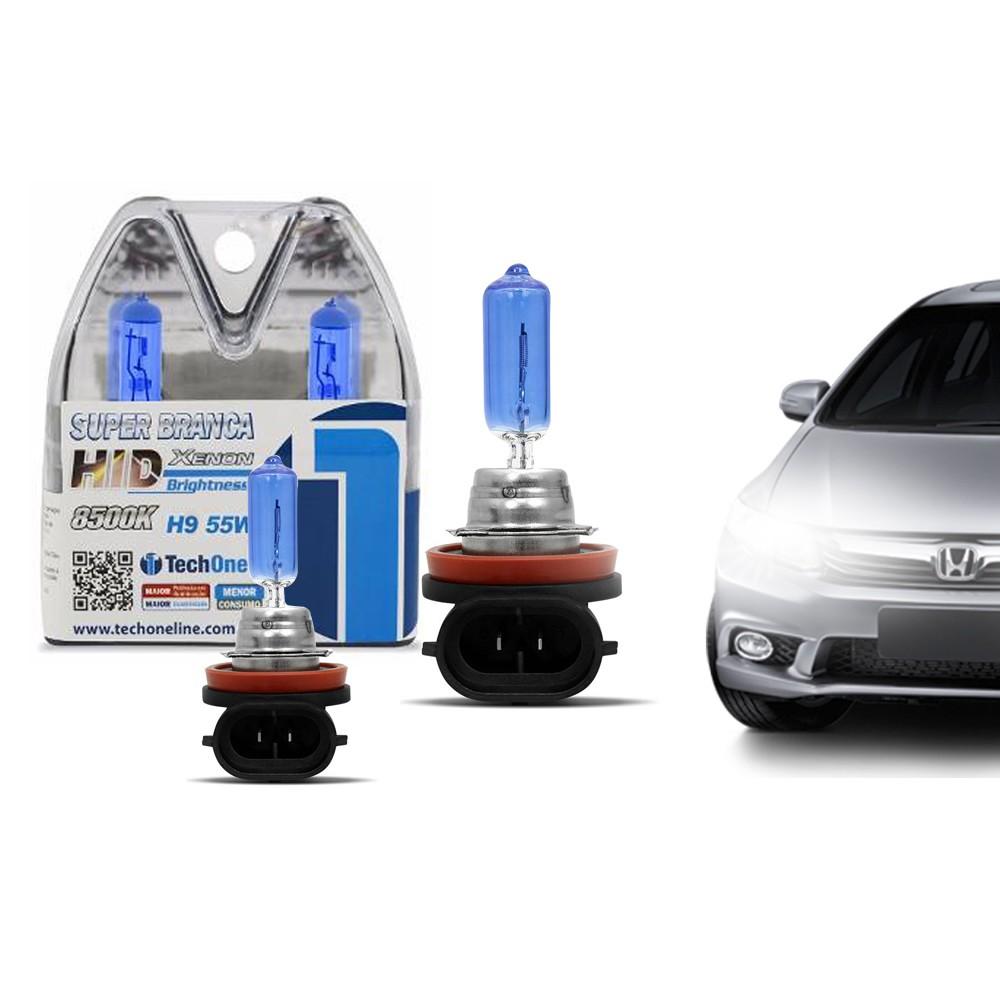 Par Lâmpada Super Branca H9 8500k 55w X-Brightness Efeito Xenon Tech One