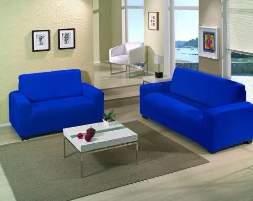 Capa Sofá Malha Dupla 2 E 3 Lug Azul Royal