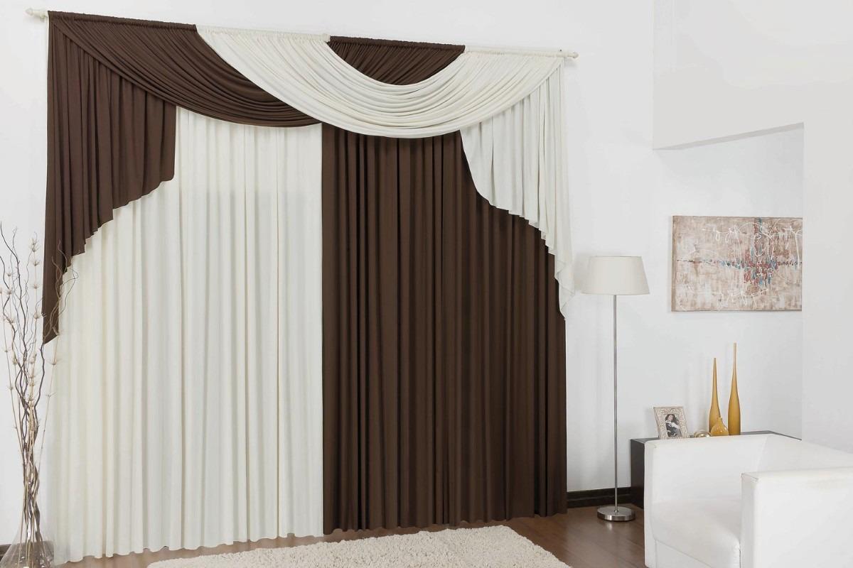 Cortina Para Sala 3,00x2,80 Varão Duplo Em Malha Elegance | Tabaco