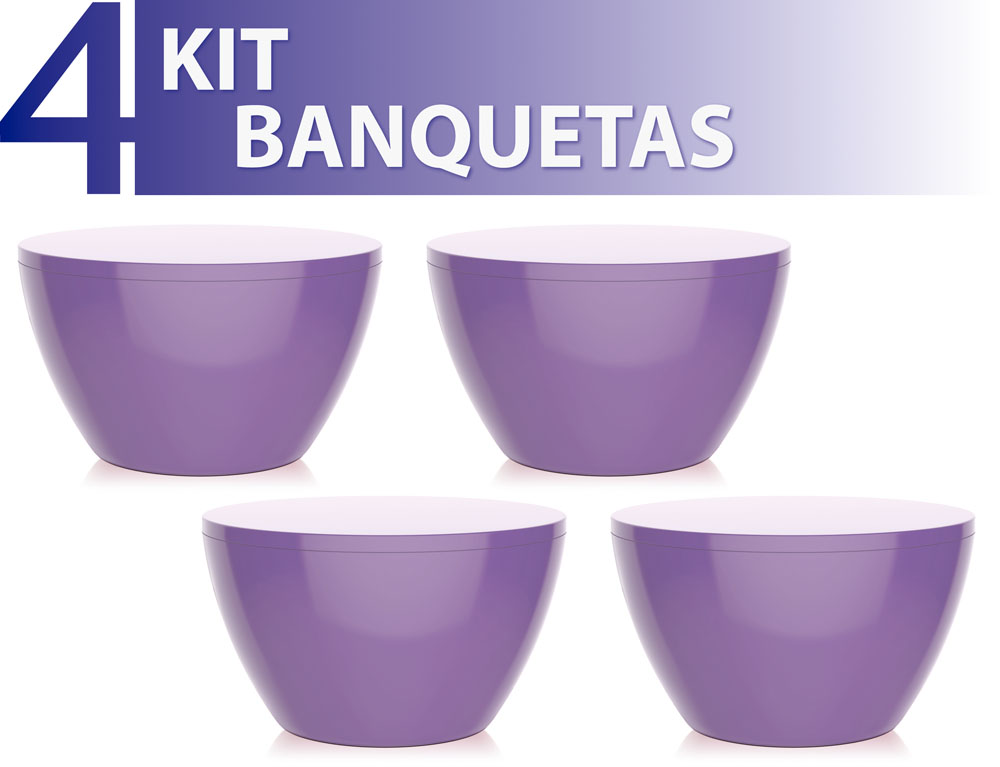 KIT 4 BANQUETAS OXY COLOR ROXO