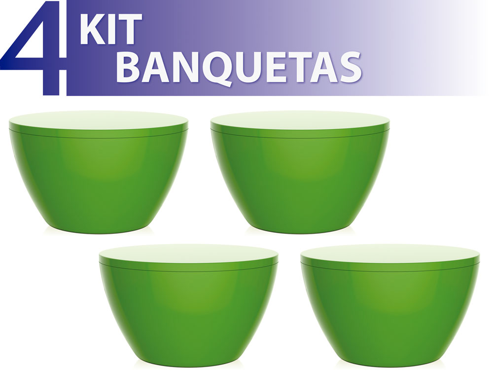 KIT 4 BANQUETAS OXY COLOR VERDE