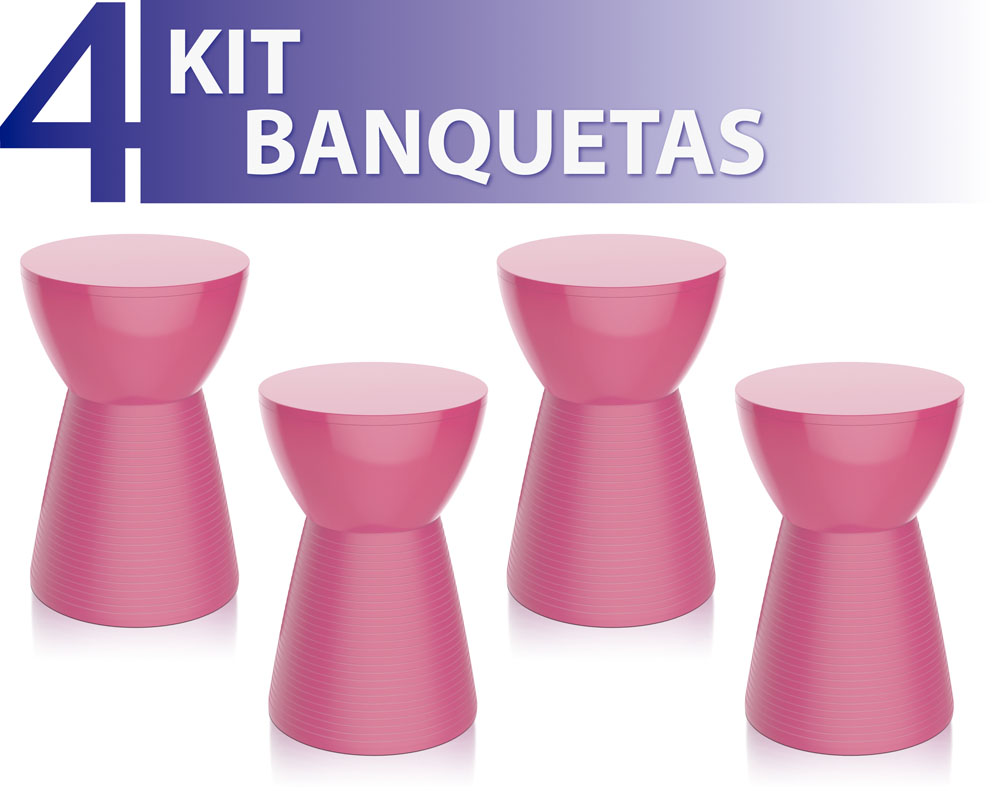 KIT 4 BANQUETAS SILI COLOR ROSA