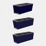 Kit 3 Vasos Autoirrigáveis Cultive Azul - 2 Triplos + 1 Simples