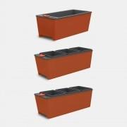 Kit 3 Vasos Autoirrigáveis Cultive Laranja - 2 Triplos + 1 Simples