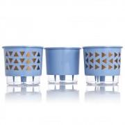 Kit 3 Vasos Autoirrigáveis GEOMÉTRICOS Azul Serenity PEQUENO